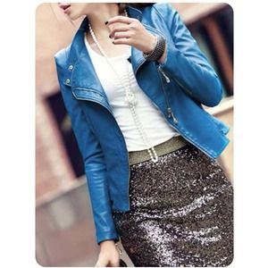 NOT AVAILNew Chic Blue ROCKSTAR Jacket
