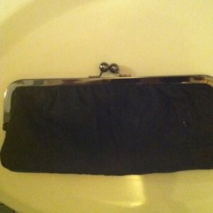Clutches & Wallets - Black fabric evening clutch