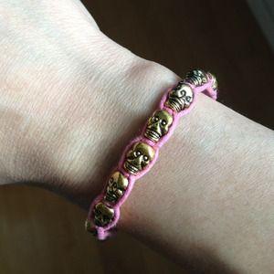 Pink Gold Brass Skull Bracelet