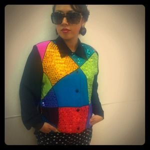 Tops - ✨Vintage silk blouse with color block sequins