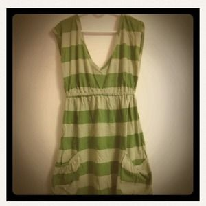 Dresses & Skirts - Striped green A Line tank dress with pockets.