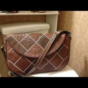 Genuine Leather Ostrich Patchwork Oversize Handbag