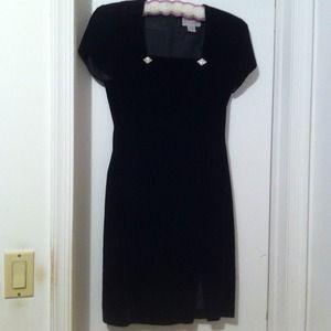 Black velvet cocktail dress with cap sleeves