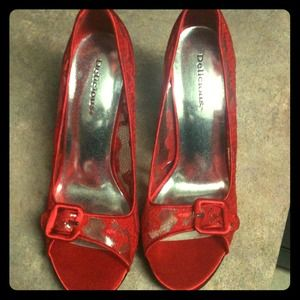 Never been worn red lace shoes!