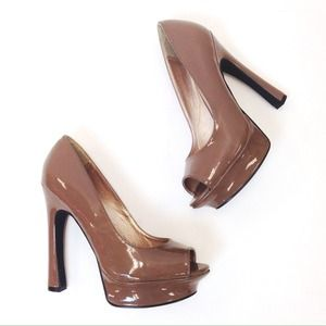 Qupid Shoes - Brown Peep Toe Platform Heels