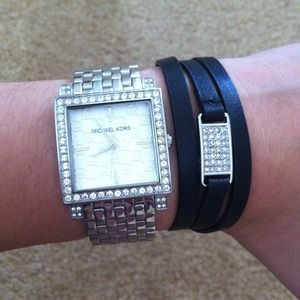 Michael Kors Jewelry - NEW Michael Kors Black Leather Wrap Bracelet