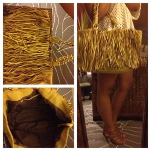 New Large Yellow Fringe Purse