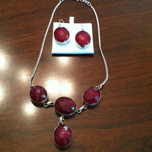 Reduced! Sterling Silver And Ruby Necklace Set.
