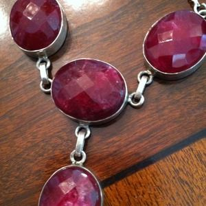Jewelry - Reduced! Sterling Silver And Ruby Necklace Set.