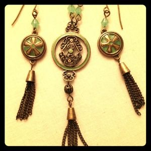 Vintage asian inspired necklace and earring set