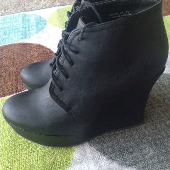 Shoes - Black Laceup Wedge Booties