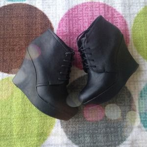 Shoes - Black Laceup Wedge Booties 1