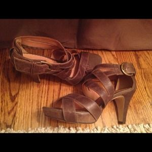 Shoes - Brown leather strappy heels