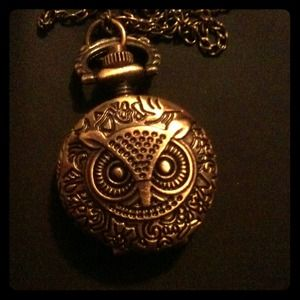 Accessories - Bronze owl pocket watch necklace
