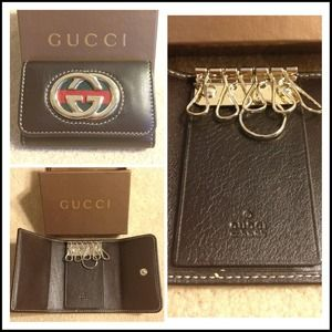 Gucci Clutches & Wallets - GUCCI BROWN LEATHER KEY CASE