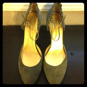 J. Crew Shoes - Reduced J. Crew ruffle suede Mary Jane heels