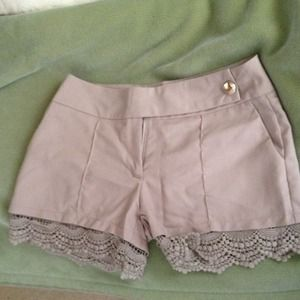 LLOVE Pants - Tan colored lace bottom shorts