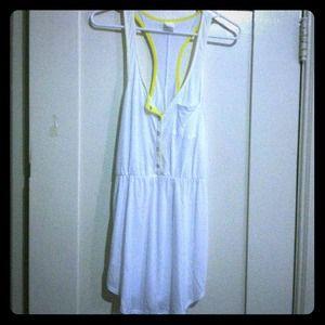 Xhilaration Tops - 🌿Sheer white racerback tunic w/ yellow detail