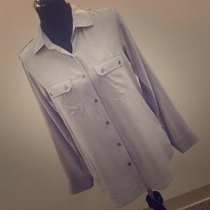 Express Tops - Dove gray silk military shirt