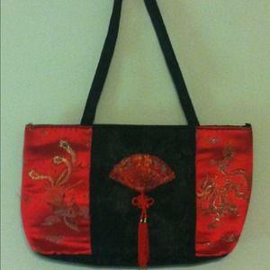 Handbags - Black & red oriental handbag,matching dress& heels