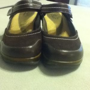 Brown leather slip on