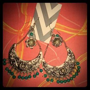 Mayan inspired turquoise earrings