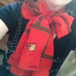 Gucci Accessories - ⬇Gucci red & green silk scarf