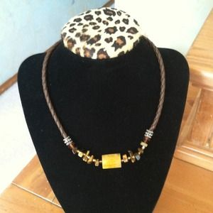 🐩Boho Leather necklace with tiger eye beads