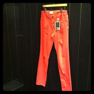 Scarlet Boulevard dark coral jeans. New with tags.