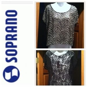 🐩Sale Soprano Top with Sheer Front and Lace Back