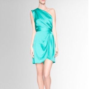 BCBGeneration aqua one shoulder dress