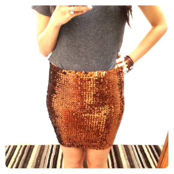 ASOS Dresses & Skirts - Brand new w/tags bronze sequin bodycon skirt!