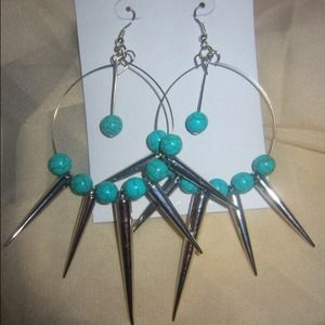 Accessories - Turquoise spike Hoops