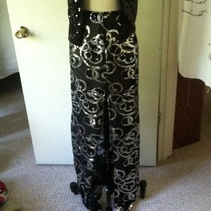 Black and Silver Evening maxi full length skirt