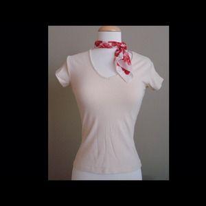 EXPRESS Fashion V-Neck Beige/Cream Top Shirt