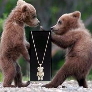 "Jewelry - New Pave Pale Pink Goldtone Bear 28"" Necklace"