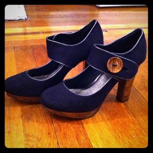 Wanted Shoes - Faux Suede Mary Jane Pumps