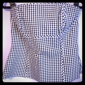 White House Black Market  Tops - White House Black Market B/W Checkered Bustier