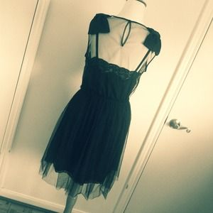 Rodarte Dresses - ** REDUCED ** Rodarte Black Crepe Tulle Slip Dress 4