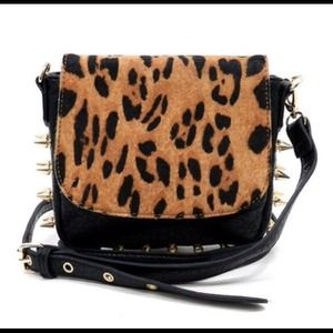 Handbags - Leopard and stud cross body