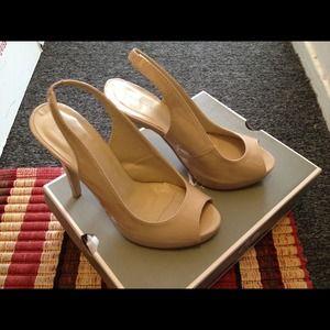 Nude open toe sling back heels