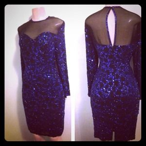 Sequins Size 10 blue and mesh dress