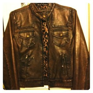 "Cropped ""leather"" motorcycle jacket"