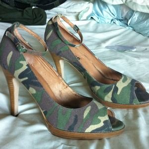 dollhouse Shoes - Camo ankle strap heels