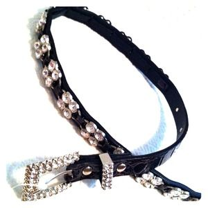 Ruosso Rhinestone & Leather Belt