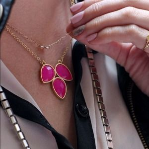BaubleBar pink clover necklace