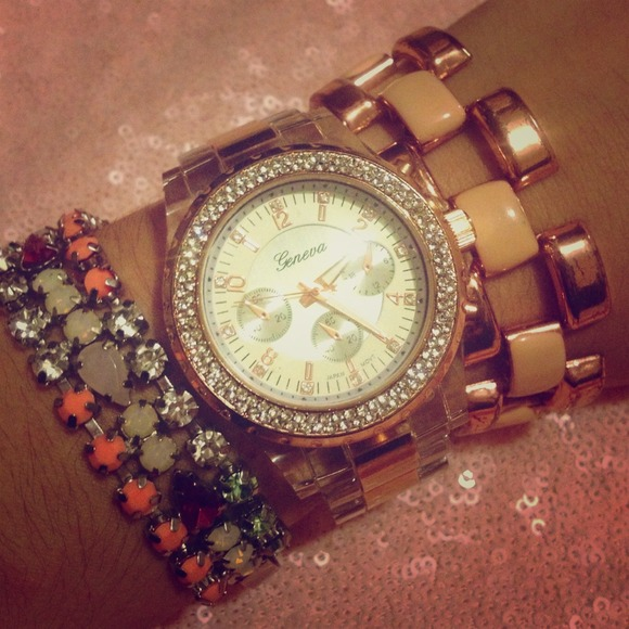 Geneva Accessories - CZ Encircled Clear & Rose Gold Chronograph Watch