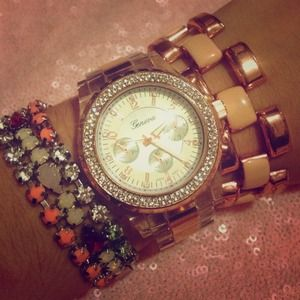 CZ Encircled Clear & Rose Gold Chronograph Watch