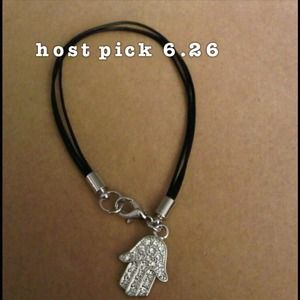 Jewelry - New Pave Black Triple Leather/Silver tone Hamsa