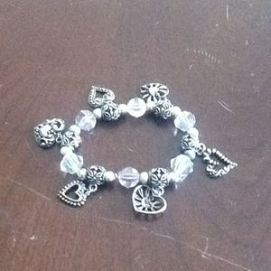 Jewelry - Light crystal & purple with heart charms bracelet